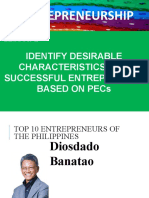 2 IDENTIFY DESIRABLE CHARACTERISTICS OF A SUCCESSFUL ENTREPRENEUR BASED ON PECs