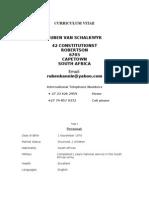 R van Schalkwyk Curriculum Vitae
