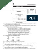 2009 Physics exam paper