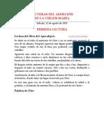 LECTURAS DEL ASUNCIÓN DE LA VIRGEN MARÍA