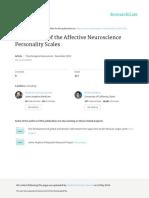 Brief Form of Affective Neuroscience Personalitie Scale (Frederick Barrett et al, 2013)