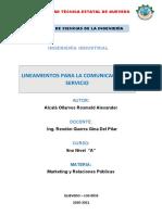 LINEAMIENTOS PARA LA COMUNICACIÓN DE SERVICIO