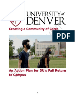 Creating a Community of Care an Action Plan for DUs Fall Return to Campus
