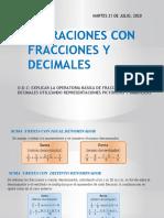 SEMANA 20 DE JULIO OPERACIONES CON FRACCIONES Y DECIMALES