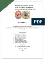 TERCER INFORME. Efecto de la granulometría en la flotación bulk de pórfidos de cobre