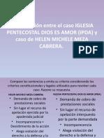Comparación entre el caso IGLESIA PENTECOSTAL DIOS ES AMOR (IPDA) y caso de HELEN MICHELE MEZA CABRERA.