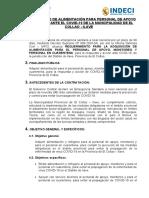 REQUERIMIENTO PARA LA ADQUISICIÓN DE ALIMENTACIÓN PARA PERSONAL DE APOYO Y MONITOREO ANTE EL COVID