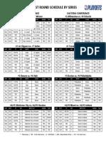 2020 NBA Playoffs First Round Schedule by SERIES