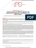 Coronavirus disease 2019 (COVID-19)- Experiences and protocols from the Department of Prosthodontics at the Wuhan University.pdf