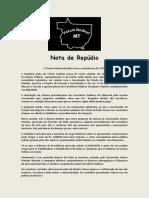 Nota de Repúdio do Forum Sindical ao governador Mauro Mendes e aos deputados que aprovaram Reforma da Previdência