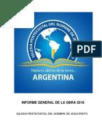 Informe Misionero Argentina 2018