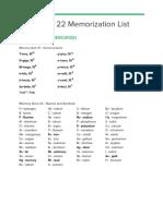 cordeiro chem 22 memorization list