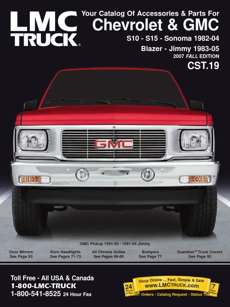 Chevrolet Gmc S10 S15 Sonoma S10 Blazer Jimmy 1982 2004 Parts Catalog Pdf Pickup Truck Brake