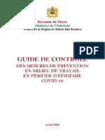 GUIDE DE CONTRÔLE DES MESURES DE PRÉVENTION EN MILIEU DE TRAVAIL EN PÉRIODE D'ÉPIDÉMIE COVID-19 VF