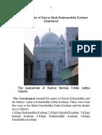 A Brief Biography of Hazrat Shah Runkanuddin Kashani Khudabad