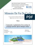 Commande et optimisation d'un système de pompage hybride (photovoltaique-éolien).pdf