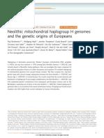 Brotherton 2013 - Neolithic mtDNA H origins of Europeans.pdf