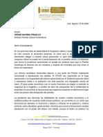 Carta de Luis Fernando Velasco a César Gaviria