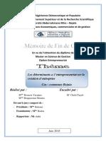 Les déterminants de l'entrepreneuriat sur la création d'entreprise Cas  commune Bejaia.pdf