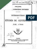 François-René La Tour Du Pin - Introduction Aux Études Du Centenaire de 1789 [1888]