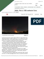 Stelle cadenti d'estate, fino a 100 meteore l'ora - Spazio & Astronomia - ANSA