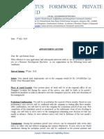Appointment Letter Mr.Ajit Kumar