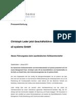 Christoph Leder jetzt Geschäftsführer der a3 systems GmbH