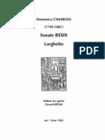 CIMAROSA, Domenico • Sonate BXXIX Larghetto (edited by Gérard Reyne) (guitar music score)