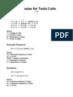 FormulasForTeslaCoils