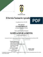 Manipulacion de alimentos certificado