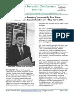 Tom Russo - Value Investor Congress 2006