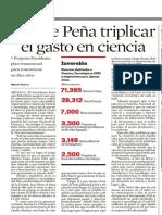 04.01.2013 Ofrece Peña triplicar el gasto en ciencia
