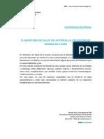 Comunicado de Prensa del Ministerio de Salud sobre el consumo de dióxido de cloro