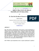 THE CURRENT PRACTICE OF ORGAN TRANSPLANT IN MALAYSIA