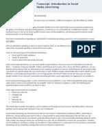 Introduction to Social Media Advertising - Transcript