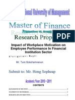 Impact of Workplace Motivation on Employee Performance Research Proposal