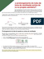 Como lançar o prolongamento do tubo de queda ou coluna de ventilação acima da cobertura no projeto sanitário