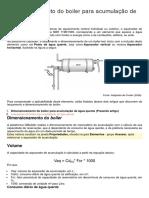 Dimensionamento do boiler para acumulação de água quente