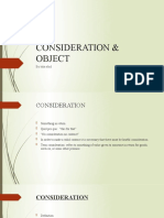 CONSIDERATION & OBJECT