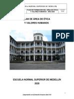 Plan de Área Ética y Valores 2020
