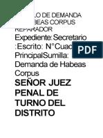MODELO DE DEMANDA DE HABEAS CORPUS REPARADOR