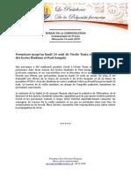 Communique - Education - Fermeture ecole  Toata et deux classes lycées Di...