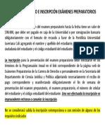Información de pago e inscripción exámenes preparatorios