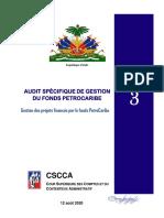 Le 3eme Rapport des Fonds de PetroCaribe par la CSCCA