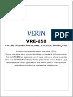 VERIN VRE-250 CENTRAL DE DETECÇÃO E ALARME DE INCÊNDIO ENDEREÇÁVEL - PDF Download grátis