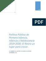 POLÍTICA PÚBLICA DE PRIMERA INFANCIA, INFANCIA Y ADOLESCENCIA