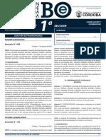 Oficialización Distanciamiento Social Córdoba - Boletín Oficial