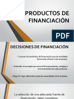 PRODUCTOS DE FINANCIACIÓN