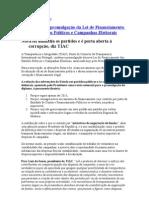 TIAC repudia promulgação da Lei de Financiamento dos Partidos Políticos e Campanhas Eleitorais