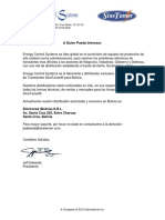 Electrored Bolivia S.R.L. - Distributor Letter - Spanish
